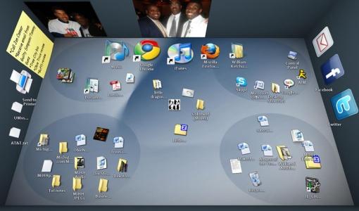 En la foto un screenshot de BumpTop. A simple vista se ve como un espacio difícil de organizar.